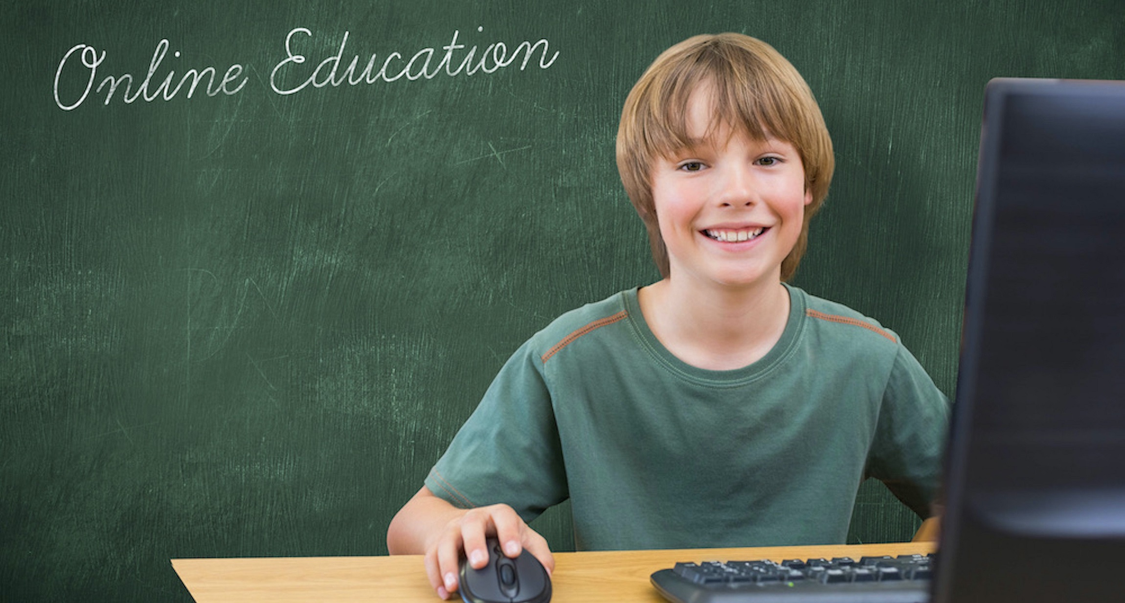 online tutoring, Boy receiving online education, with blackboard behind him