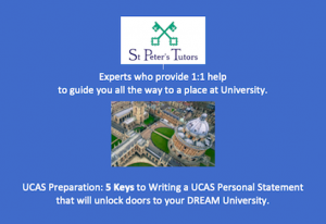 St Peter's Tutors have experts who can give 1:1 help to guide you all the way to University.